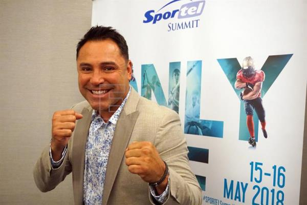 Photograph showing former world boxing champion Oscar de la Hoya at the 2018 SPORTELSummit in Miami Beach, United States, May 16, 2018. EPA-EFE/Mar Vila
