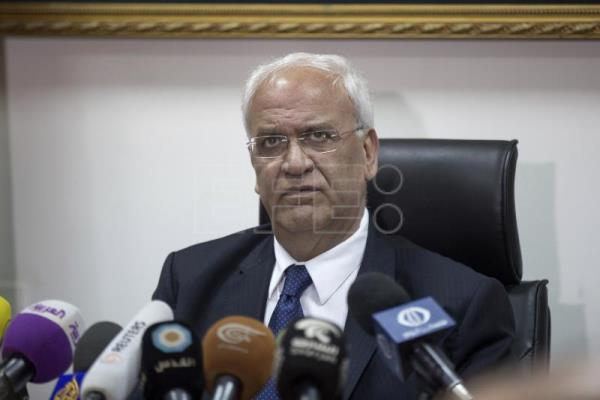 File image of Palestine Liberation Organization Secretary General Saeb Erekat during a press conference held at his office in Jericho, West Bank, Feb. 15, 2017. EPA-EFE FILE/ATEF SAFADI