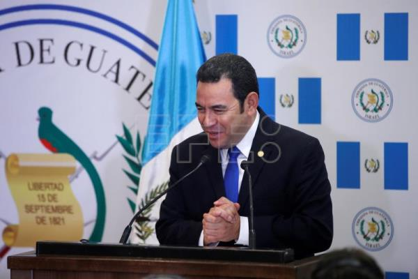 Guatemalan President Jimmy Morales gestures as he speaks during the dedication ceremony of the embassy of Guatemala in Jerusalem, May 16, 2018. EPA-EFE/RONEN ZVULUN