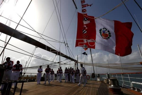 The Union, a Peruvian navy ship that at 115.75 meters (379.5 feet) in length is Latin America's largest sail training vessel, docked on Sunday at the Port of San Juan. EFE