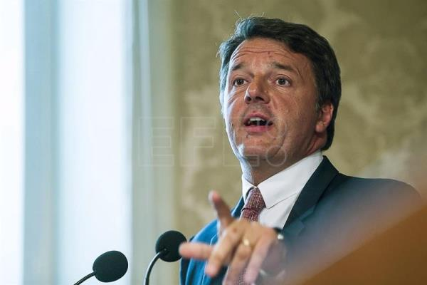Matteo Renzi press conference at the Italian Senate