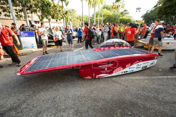 The Western Sydney Solar Team of Australia with their Unlimited 2.0 car as the World Solar Challenge begins at Parliament House in Darwin, Northern Territory, Australia, Oct. 8, 2017. EFE-EPA/GLENN CAMPBELL