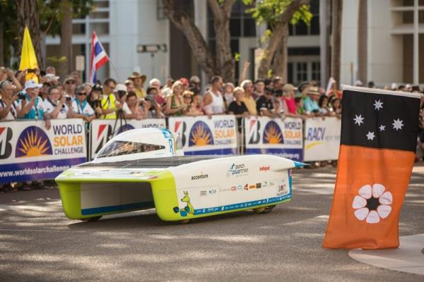 Punch Powertrain Solar Team from Belgium (Solar Team VZW) with their Punch Two car as the World Solar Challenge begins at Parliament House in Darwin, Northern Territory, Australia, Oct. 8, 2017. EFE-EPA/GLENN CAMPBELL