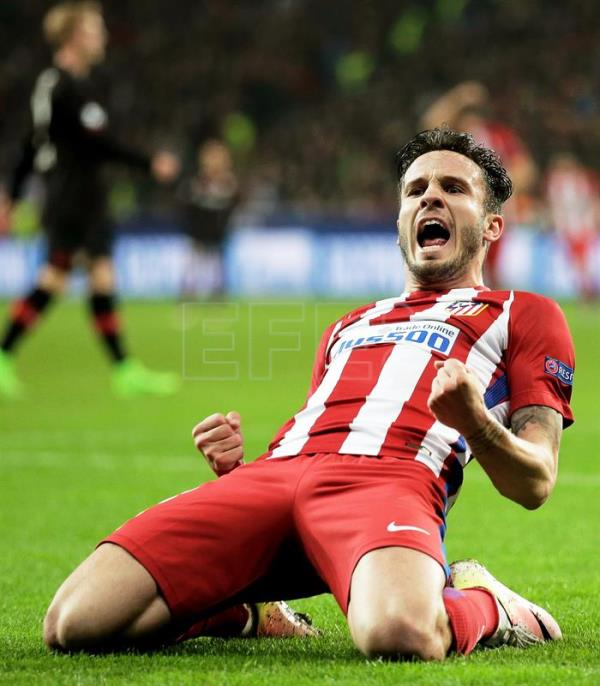 Atletico Madrid s Saul Niguez celebrates after scoring the 1-0 lead during  the UEFA Champions a96d1123e3e62