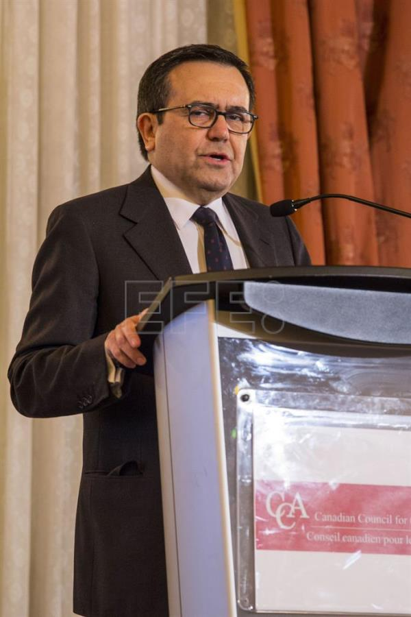 Mexican Economy Secretary Ildefonso Guajardo, speaks during a conference organized by the Canadian Council for the Americas (CCA) on the future of the relationships between the United States, Canada and Mexico, in Toronto, Canada, 21 February 2017. EFE/Julio Cesar Rivas