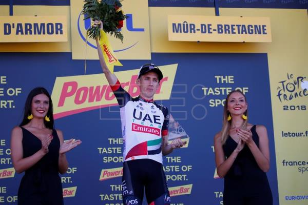 UAE Team Emirates rider Daniel Martin, of Ireland, after winning the 6th stage of the 105th Tour de France over the 181 km between Brest and Mur-de-Bretagne Guerledan, France, on July 12, 2018. EPA-EFE/KIM LUDBROOK