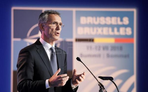 Jens Stoltenberg speaks during a press conference on the second day of the NATO Summit in Brussels, Belgium, July 12, 2018. EPA-EFE/CHRISTIAN BRUNA