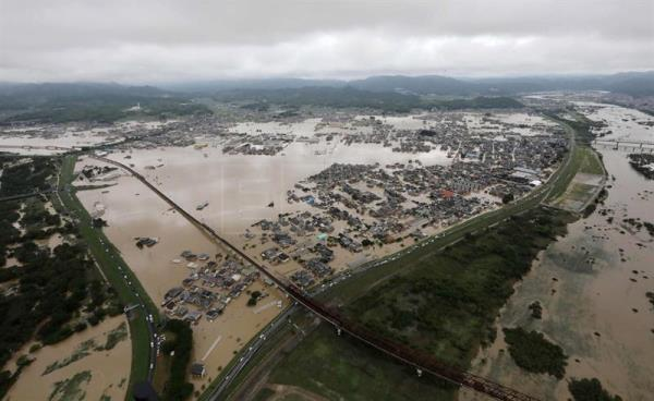 An aerial view of the flood in Kurashiki city, Okayama Prefecture, western Japan, Jul. 8, 2018. EPA-EFE FILE/JIJI PRESS JAPAN OUT EDITORIAL USE ONLY NO ARCHIVES