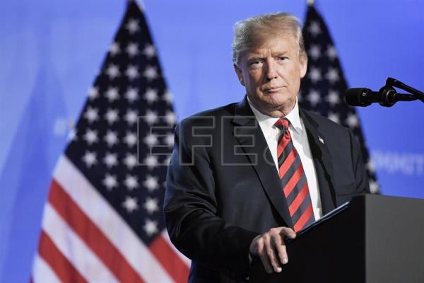 US President Donald Trump speaks during a press conference on the second day of the NATO Summit in Brussels, Belgium, July 12, 2018. EPA-EFE/Christian Bruna