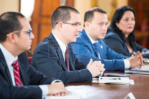 Photograph showing Venezuelan Foreign Minister Jorge Arreaza during Haitian counterpart Antonio Rodrigue's official visit in Caracas, Venezuela, Jul 11, 2018. EPA-EFE/Miguel Gutierrez