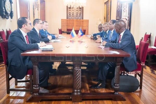 Photograph showing Venezuelan Foreign Minister Jorge Arreaza and Haitian counterpart Antonio Rodrigue's in Caracas, Venezuela, Jul 11, 2018. EPA-EFE/Miguel Gutierrez