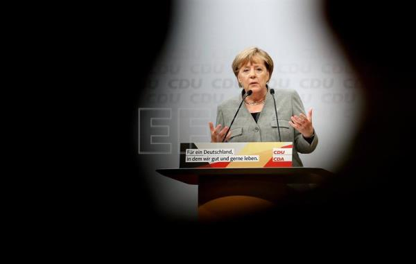 Germany's Christian Democratic Union (CDU) party chairwoman and German Chancellor Angela Merkel speaks during the election campaign opening event of the German Christian Democratic Union party in Dortmund, Germany, 12 August 2017. EFE