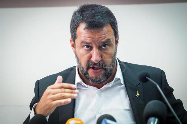Matteo Salvini in Castelvolturno for a security conference