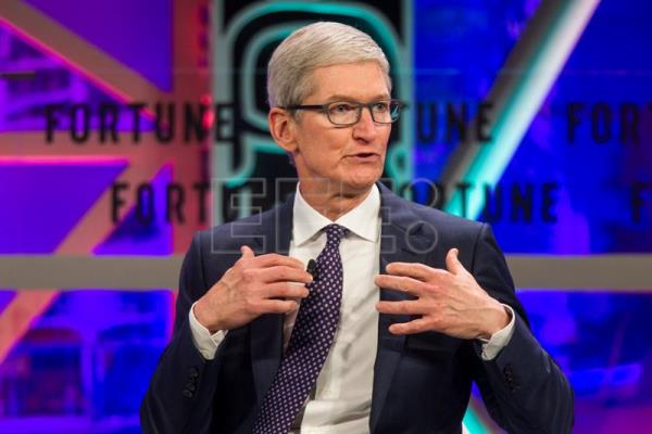 Tim Cook, the CEO of Apple, speaks during the Fortune 500 Global Forum in Guangzhou, Guandong Province, China, Dec. 6, 2017. EPA-EFE/ALEKSANDAR PLAVEVSKI